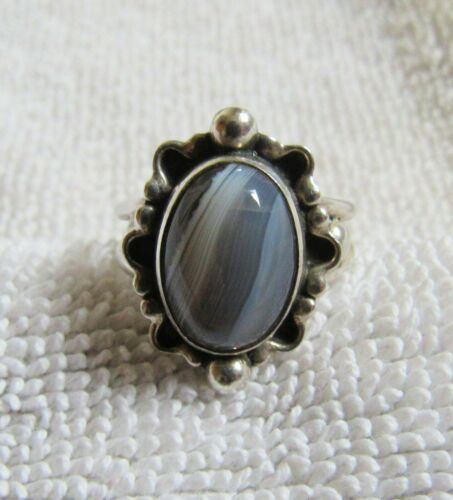 Sterling Silver Botswana Agate Stone Setting Mexico Mexican Jewelry Ring