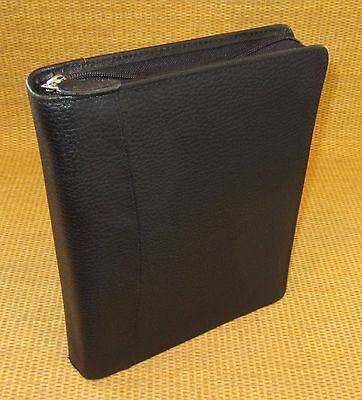 Classic 1.125 Rings Black Pebbled Leather Franklin Covey Zip Plannerbinder