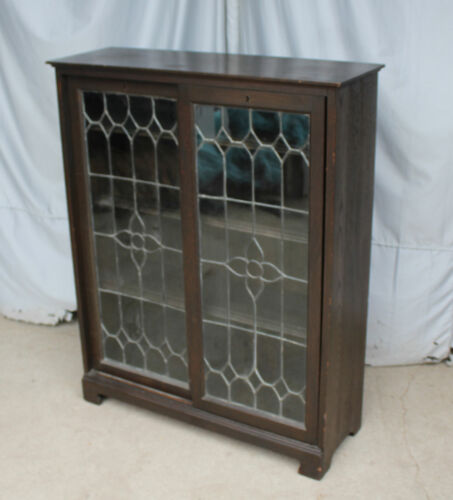 Antique Oak Bookcase – leaded glass sliding doors - Stylish and Functional Beaut