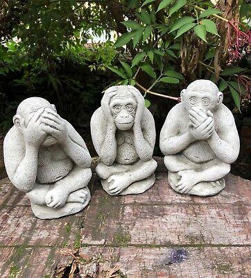 Monkeys see, hear speak no evil stone garden ornaments cheeky monkey