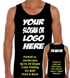 PERSONALISED CUSTOM PRINTING MENS / WOMENS SINGLETS T-SHIRTS Leichhardt Leichhardt Area Preview
