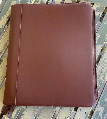 Levenger Brown Leather Professional Portfolio Folder Double Zipper Closure