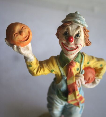"Unique Ceramic Halloween Clown Looking Up & Holding Smiling Pumpkins, 9"" Tall"