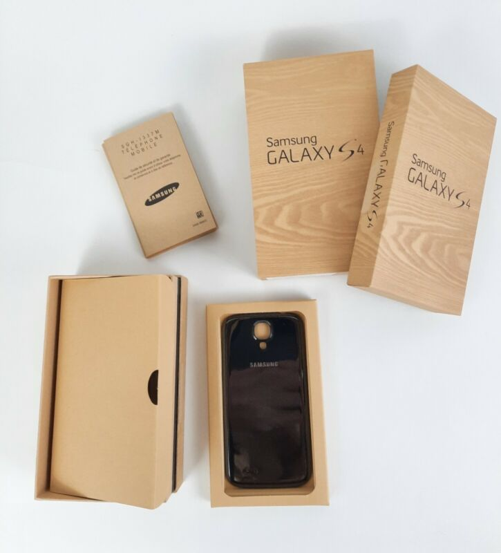 Samsung Galaxy S4 Box Only EMPTY NO PHONE with OEM Back Battery Cover Black Ear