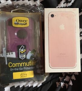 9.5/10 condition Rose pink iPhone 7 128gb with new otterbox