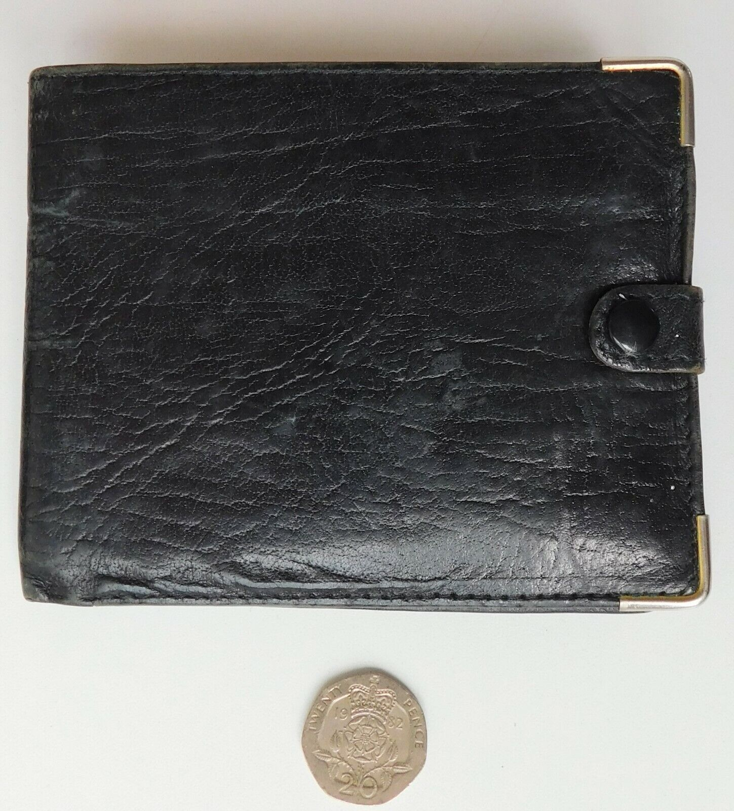 Genuine leather vintage wallet made in England black 1970s 1980s men or women