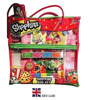 SHOPKINS STATIONERY BAG SET Birthday Gift Pencil Rubber Ruler School Notebook UK