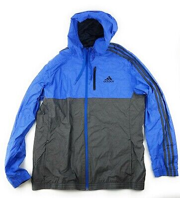 Adidas ESS Woven Jacket Men's Blue Black AY7436 Full Zip Hooded