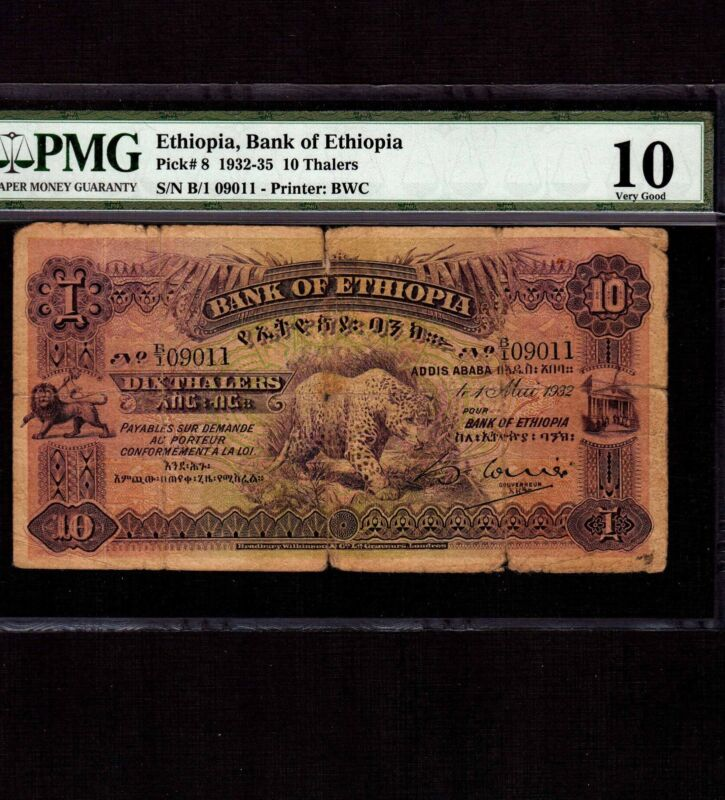 Ethiopia, 10 Thalers 1932, P-8, PMG VG 10 * Leopard *