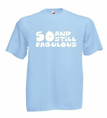 50 AND FABULOUS funny tee 50th xmas birthday gift ideas mens womens T SHIRT TOP](50 And Fabulous Birthday Ideas)