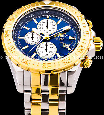 Invicta Mens Aviator Maverick Blue Dial Silver & 18k Gold Two Tone Watch 18851