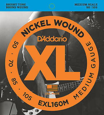 D'Addario EXL160M XL NICKEL BASS STRINGS, MEDIUM SCALE - MEDIUM 4's - 50-105