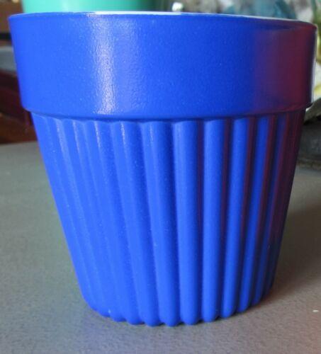 Hazel-Atlas Platonite Flower Pot, Blue Fired On Color, Milk Glass