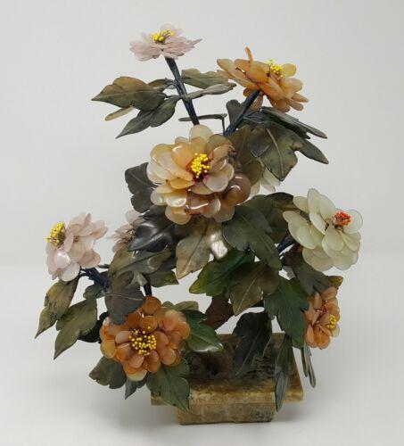 """MID CENTURY CARVED JADE AGATE BONSAI FLOWER TREE 14.25"""""""
