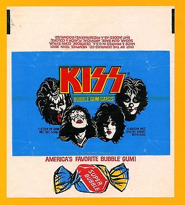 KISS 1978 Trading Card Wrapper; From Donruss Aucoin Wax Pack; Heavy Metal Rock