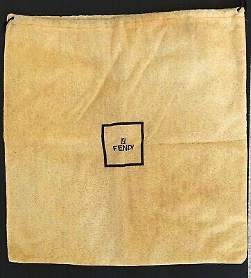 Vintage FENDI Large Yellow Drawstring Dust Storage Protector Bag 19x19 Old Logo