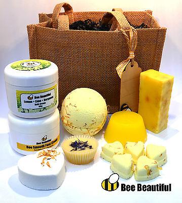 Bee Beautiful Jute Gift bag, soap, bath bombs, bath creams, melts, skin cream