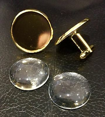 """Gold Cufflink Blanks Round 1"""" 25mm for Photo Jewellery, Images & Glass Cabochons"""