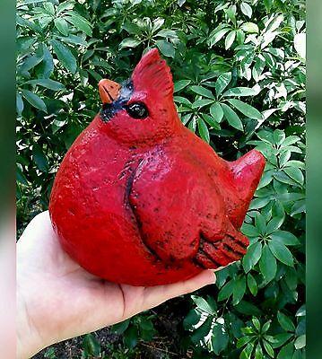 """Chubby Red Cardinal 6"""" tall Bird Garden Statue Concrete Outdoor Christmas Decor"""