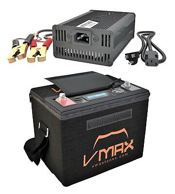 50AH LITHIUM METAL 12V Deep Cycle POWER BACK UP Battery PACK W/CHARGER CASE USB