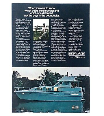 1973 Bertram Yacht Advertisement Boat Cruise Miami Florida Vintage Print AD