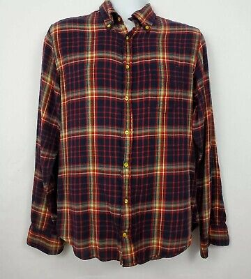 Gant Rugger Haven Windblown Plaid Flannel Long Sleeve Shirt Mens Size L Red