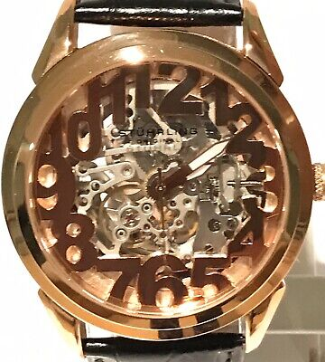 Stuhrling Rosary Skeletonized Floating Numerals Rose Gold Automatic Mens Watch
