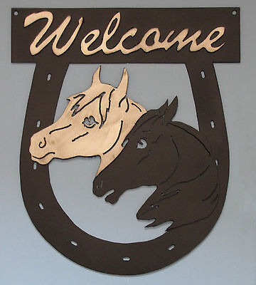 HORSE WELCOME SIGN HEAVY METAL HORSEHEADS HORSESHOE EQUINE BARN HOUSE SIGN NICE!