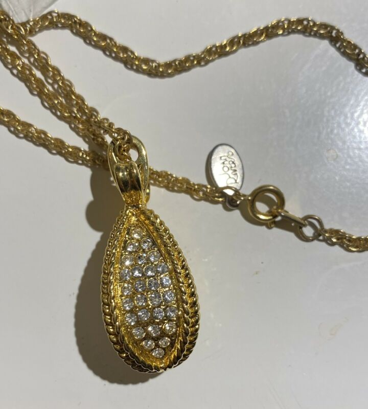 JOAN RIVERS Clear Rhinestone Pavé Crystal Gold-tone Bow Egg Pendant Necklace