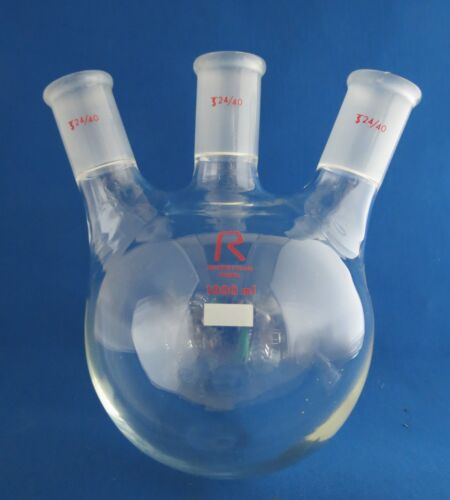 Reliance Round Bottom Flask 1000mL 3 Neck  24/40 Angled