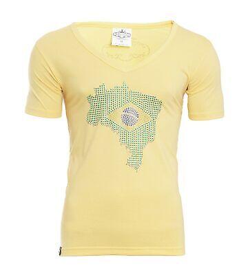 Makey Herren T-Shirt WM Fussball Fan Shirt Brasilien gelb Fanartikel mit Steinen