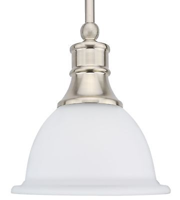 "Ellie 8"" Adjustable Mini Pendant Light with Frosted Glass Shade & Brushed Nic..."