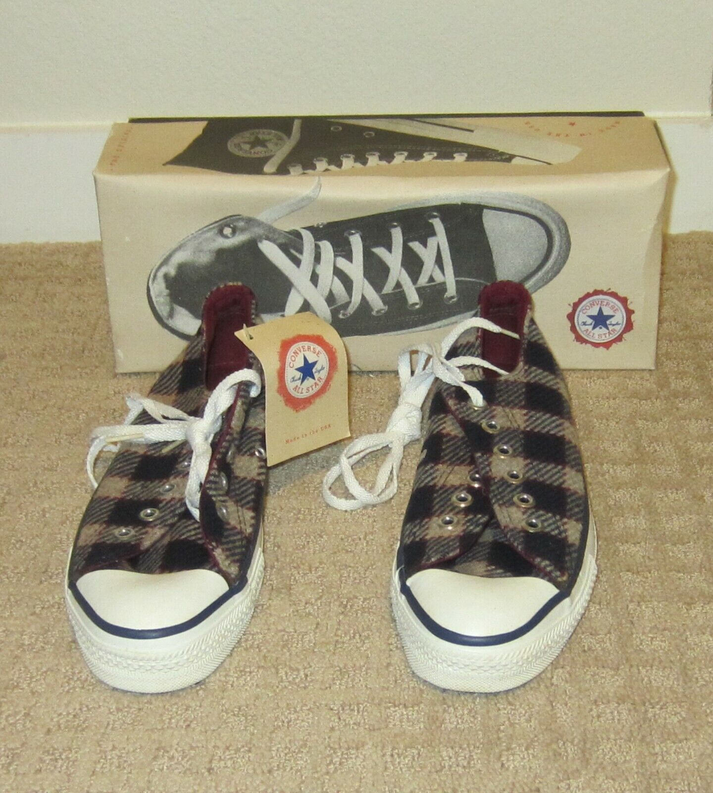 Vintage USA Made Converse All Star Chuck Taylor Shoes Wool Plaid Low Tops M7 W9