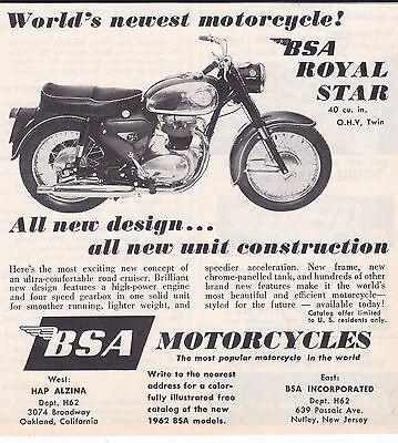 1962 BSA ROYAL STAR MOTORCYCLE  ~ ORIGINAL SMALLER PRINT AD