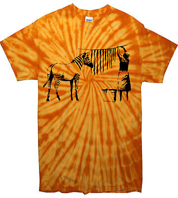 - BANKSY ZEBRA STRIPES TIE DYE T-SHIRT - Hanging Washing Festival - Colour Choice