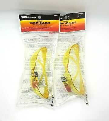 2x Forney Starlite Safety Glasses Yellow Amber 55329 Uv Protection Durable Work