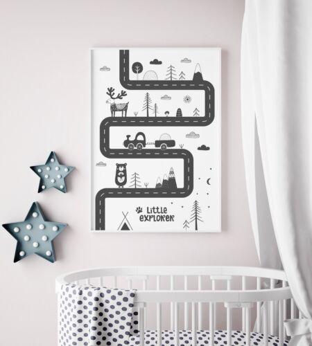 Scandi Style Nursery Print / Picture For Boys Room / Bedroom Playroom Road Map