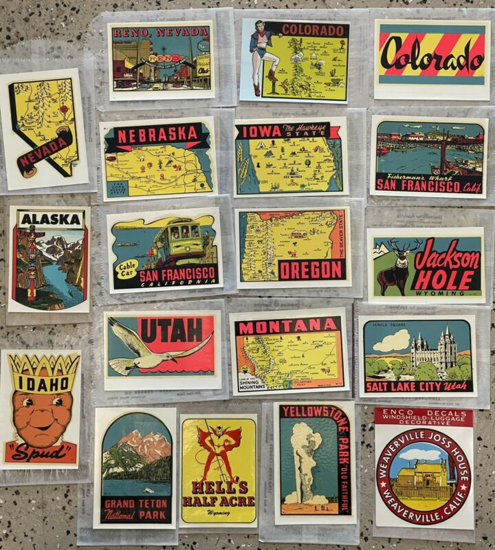 Lot of 19 Vintage State Travel Souvenir Transfer Sticker Decals