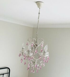 French Provincial Chandelier with pink glass