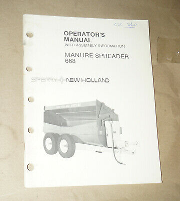 Sperry New Holland Manure Spreader 668 Operators Manual Pn 43066810
