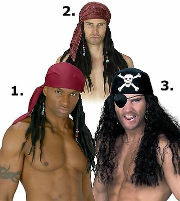 Pirate Wig with Bandana Scarf Bandanna Mens Adult Costume Hair Dreads Dreadlocks - Wig Dreads