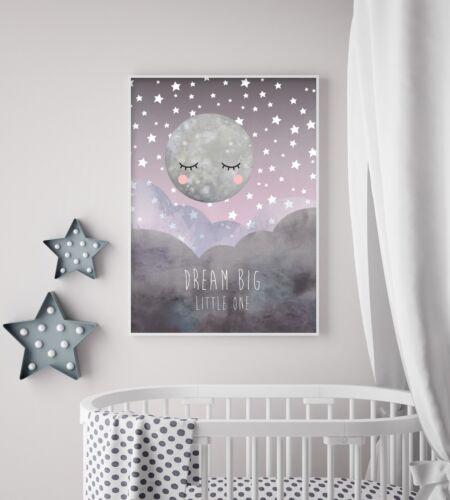 Midnight Moon - Nursery Print - Wall Art - Baby Room - Kids Bedroom - Moon Stars