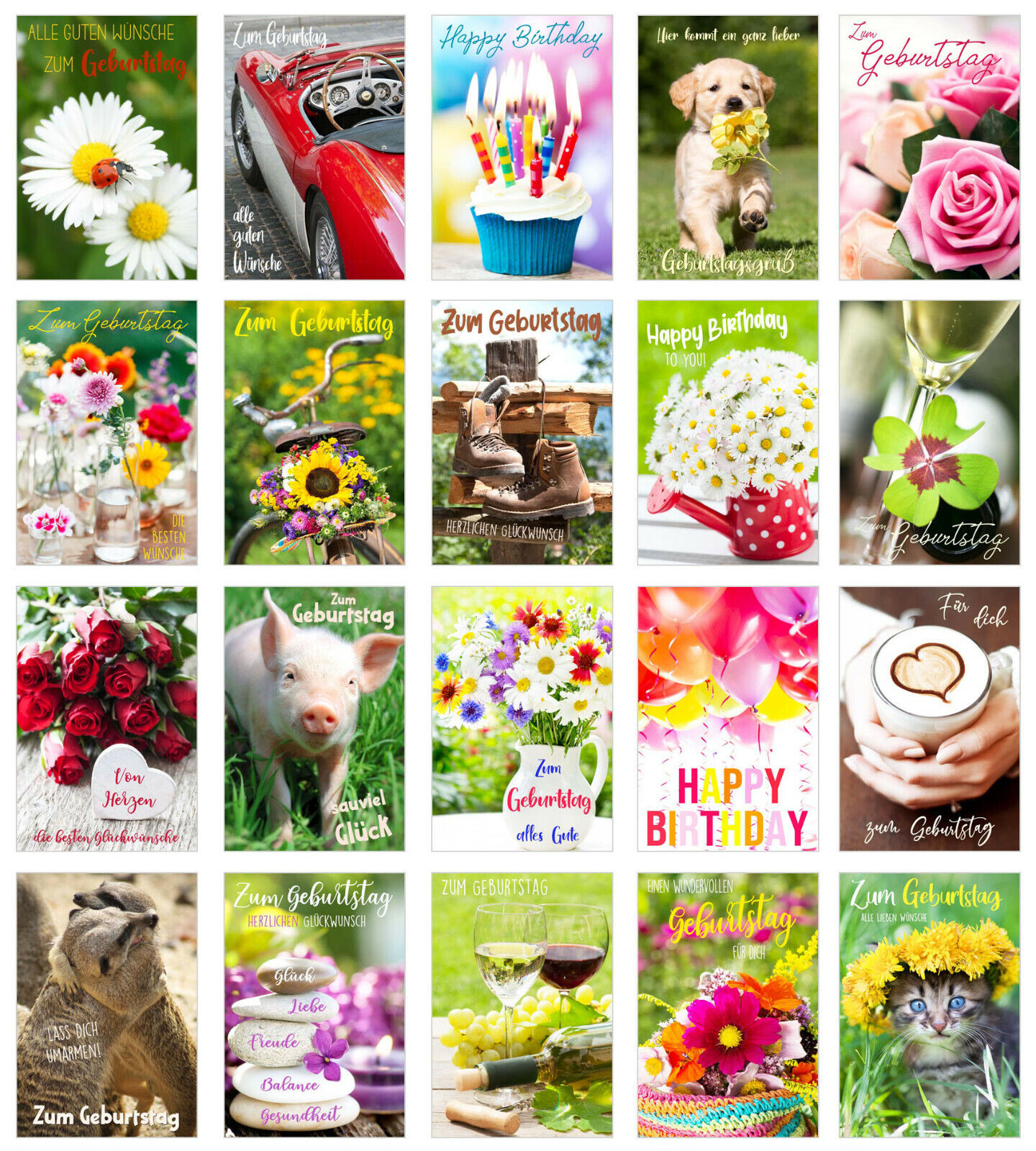 Set 20 Glückwunschkarten zum Geburtstag mit Umschlag (20839)