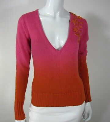 Diesel V Neckline LONG SLEEVE SWEATER S Small Solid Pink Embroidered 116 -
