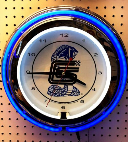 "15"" Carroll Shelby Double Neon Chrome Clock Cobra Mustang"