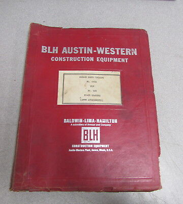 Blh Austin-western 470b 99h Power Graders Parts Catalog Manual 1967