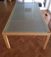 Solid timber and opaque glass custom made dining table Mosman Mosman Area Preview