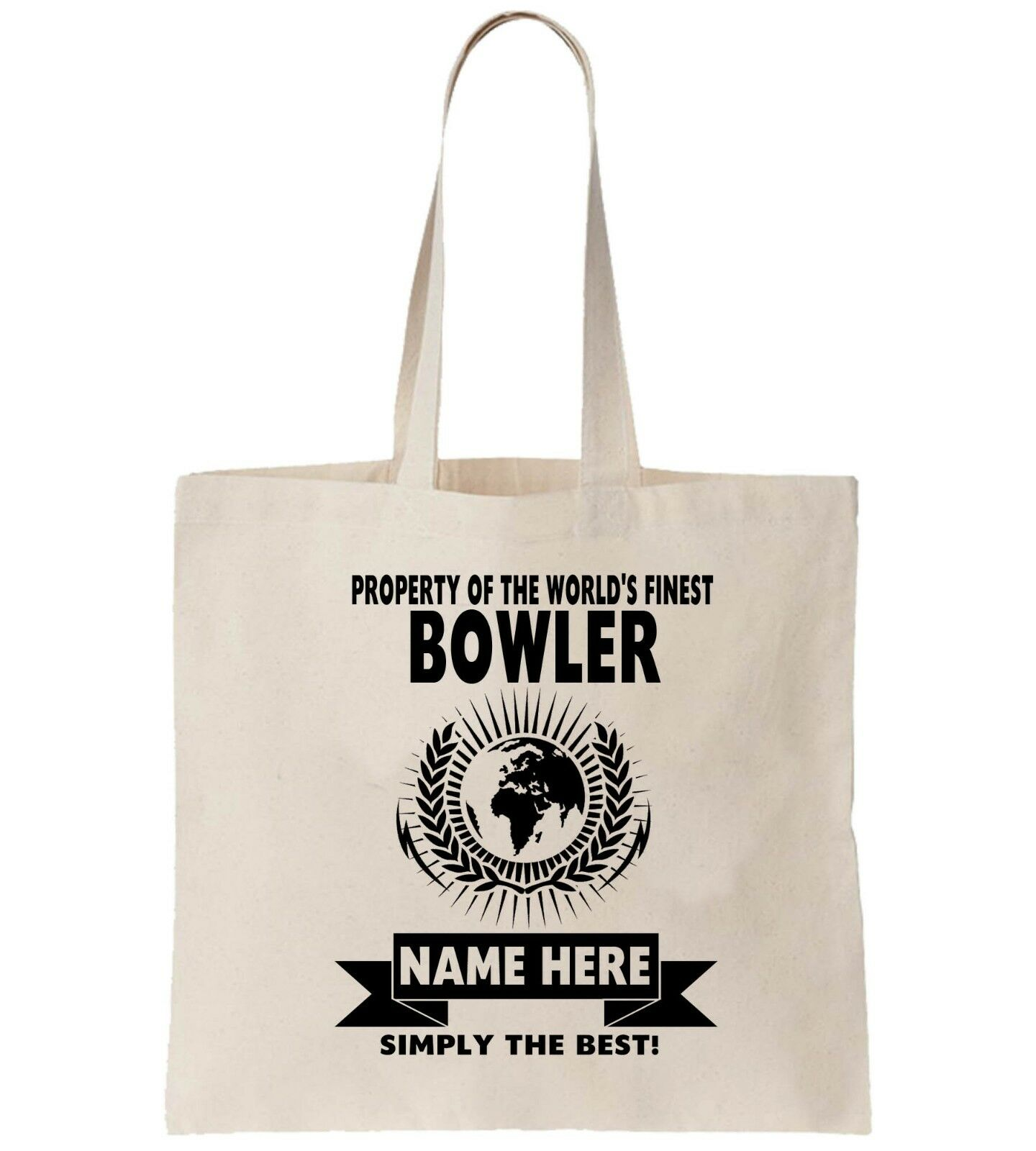 Bowler Cricket Personalised Tote Bag Shopper Thanks Amend Birthday Gift Idea
