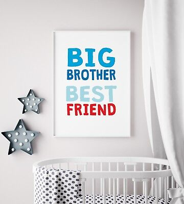 Big Brother Best Friend Red & Blue Kids Boys Play Room Nursery Wall Art