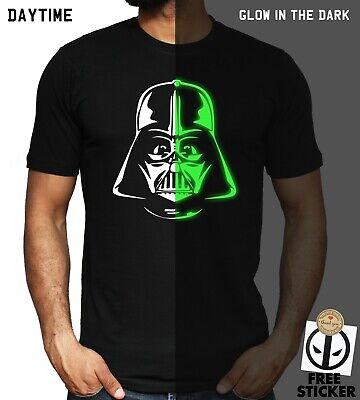 Darth Vader T-shirt GLOW IN THE DARK Star Wars Jedi Adult Kids Gift Birthday Tee
